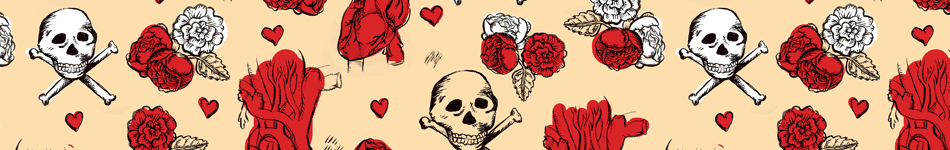 Tattoo skulls and hearts background